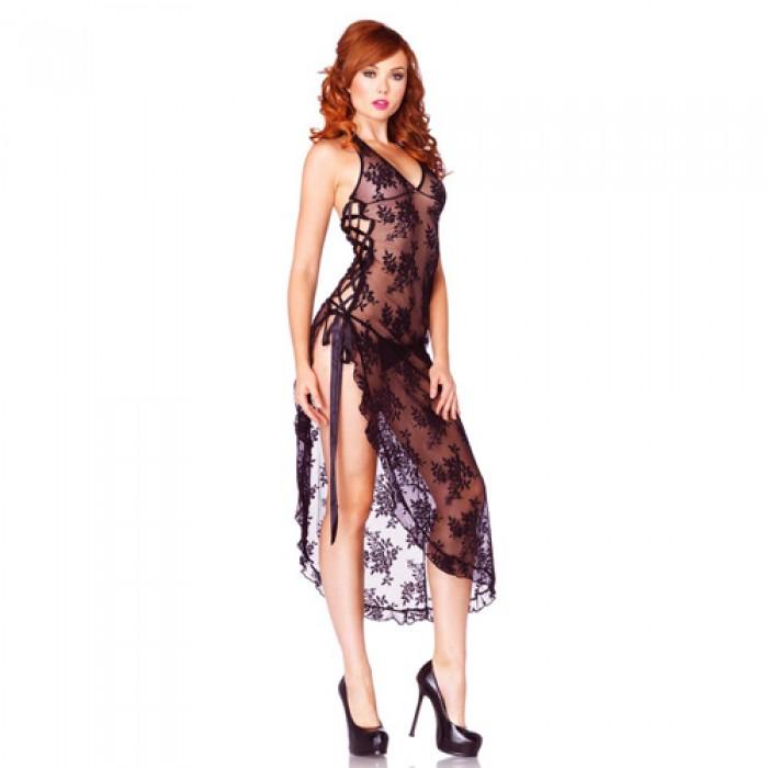 Leg Avenue 2 Piece Rose Lace rochie lungă cu Lace Side Negru